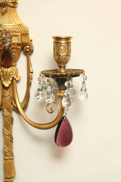 Pair of Gilt Bronze and Crystal Sconces by Caldwell For Sale 1