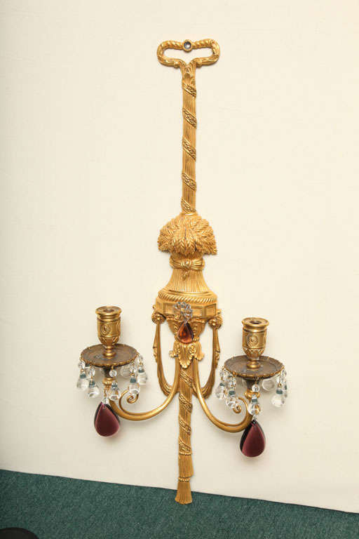 Pair of Gilt Bronze and Crystal Sconces by Caldwell For Sale 2
