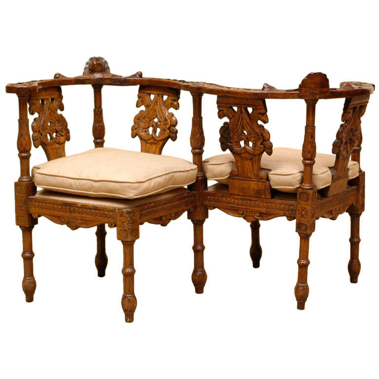 early 19th c italian carved walnut tete a tete at 1stdibs. Black Bedroom Furniture Sets. Home Design Ideas