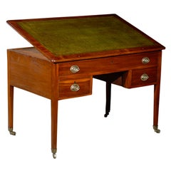 English Architect's Table with Leather Top, circa 1800