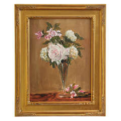 """Still life pink & white flowers in a glass vase"""