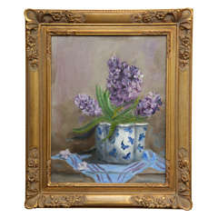 "Still Life ""Hyacinths in a blue and white vase\"""