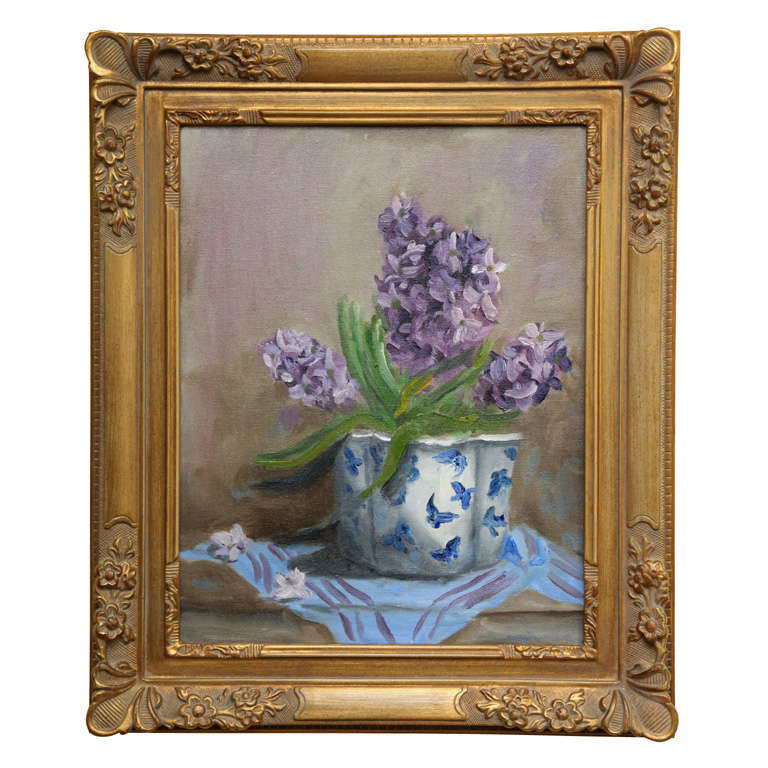 """Still Life \""""Hyacinths in a blue and white vase\"""""""