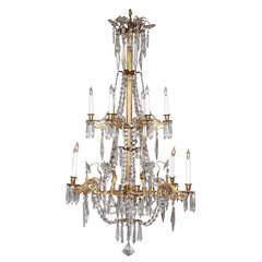 Antique Twelve-Light Cut Crystal and Ormolu Chandelier, Italian, circa 1840