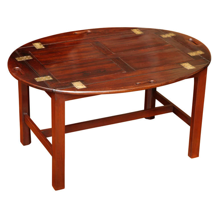 Hako Coffee Table: Chippendale Antique Period Mahogany Butler's Tray Table