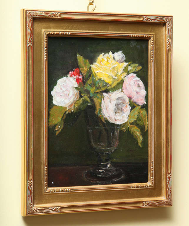 """Still Life  """"Yellow & Pink roses in a glass vase"""" 2"""