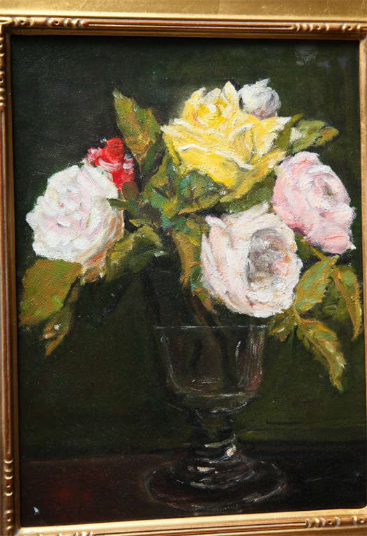 """Still Life  """"Yellow & Pink roses in a glass vase"""" 3"""