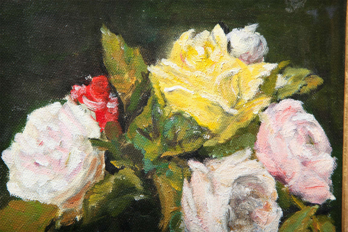 """Still Life  """"Yellow & Pink roses in a glass vase"""" 4"""