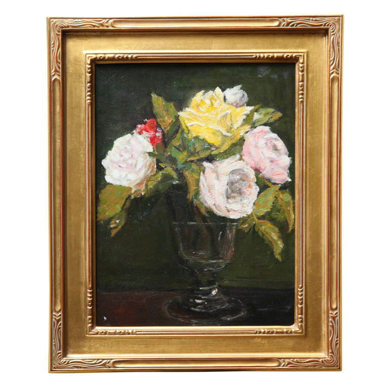 """Still Life  """"Yellow & Pink roses in a glass vase"""" 1"""