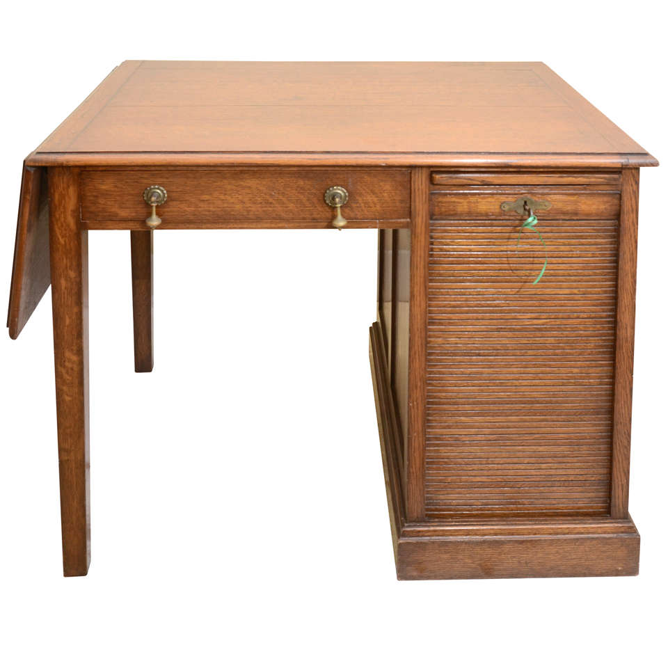 English Drop Leaf Desk With Typing Slide Amp Tambour Covered