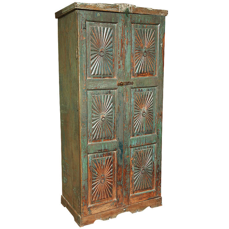 Deco hand carved goan cabinet with vintage paint at 1stdibs for Carved kitchen cabinets