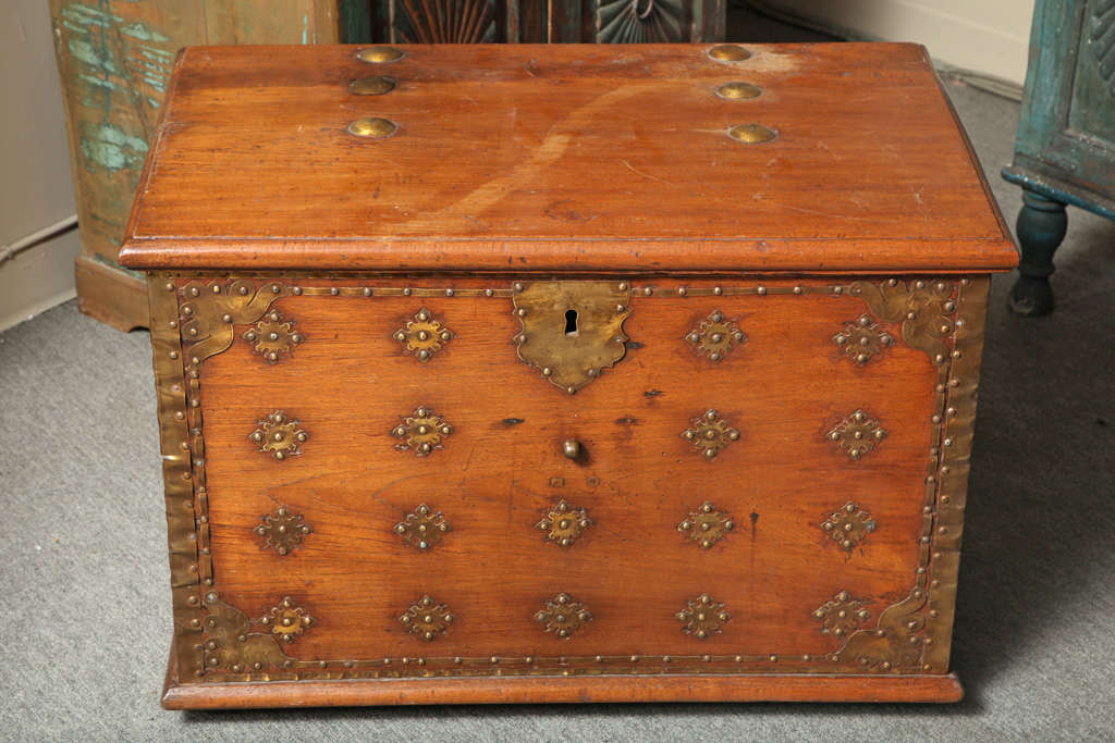 Large Dutch Colonial Style Late 19th Century Teak Trunk With Brass D Cor For Sale At 1stdibs