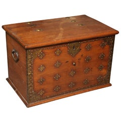 Large Dutch Colonial Style Late 19th Century Teak Trunk with Brass Décor