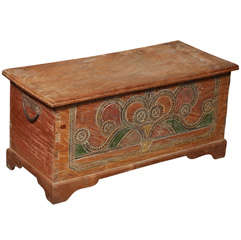 Hand-Carved and Painted Dutch Colonial Style Wedding Trunk with Painted Motifs