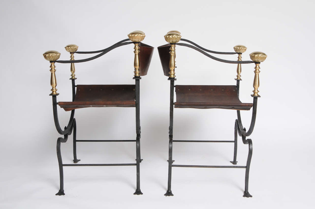 Pair Of Savonarola Iron And Leather Chairs At 1stdibs