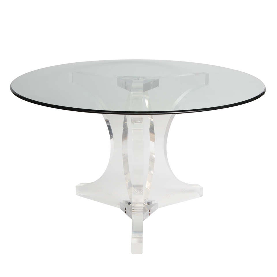 A Stunning Lucite And Chrome Table Base And Glass Top At