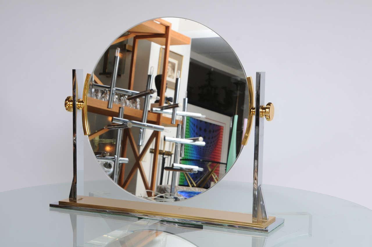 Karl Springer Mixed-Metals Vintage Vanity Mirror 2