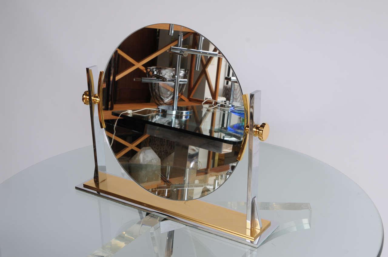Karl Springer Mixed-Metals Vintage Vanity Mirror 3