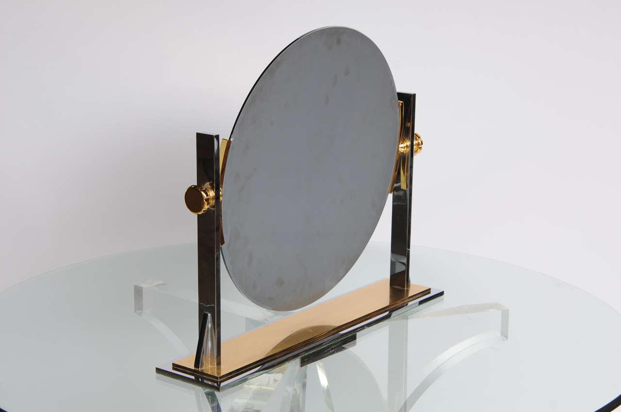 Karl Springer Mixed-Metals Vintage Vanity Mirror 8