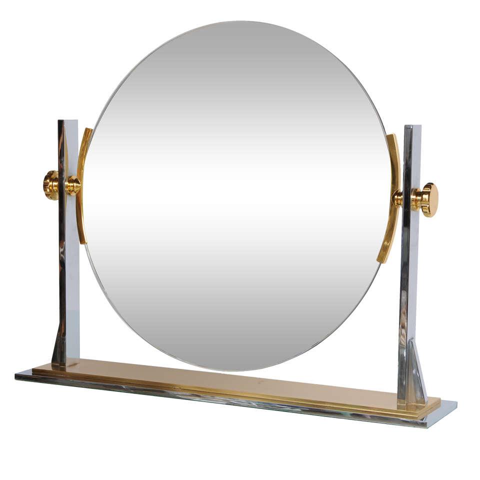 Karl Springer Mixed-Metals Vintage Vanity Mirror 1