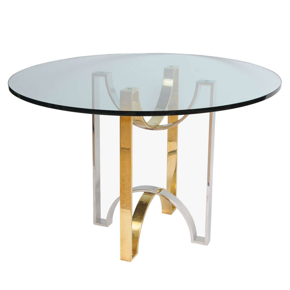 Solid brass and steel ribbon design foyer table for sale at 1stdibs
