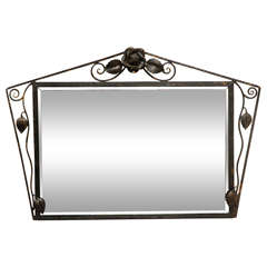 Deco Wall Mirror in Wrought Iron Frame