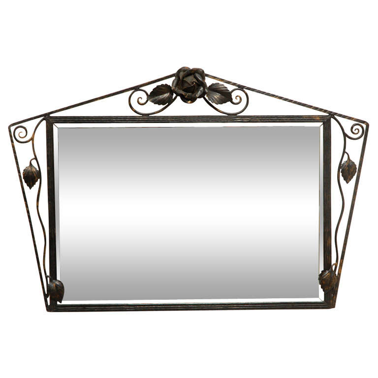 Deco Wall Mirror in Wrought Iron Frame For Sale at 1stdibs