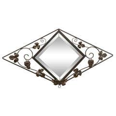 French Deco Iron Wall Mirror