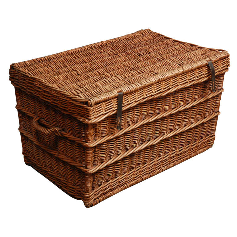 Fantastic Vintage Wicker Trunk with Lid at 1stdibs LD46
