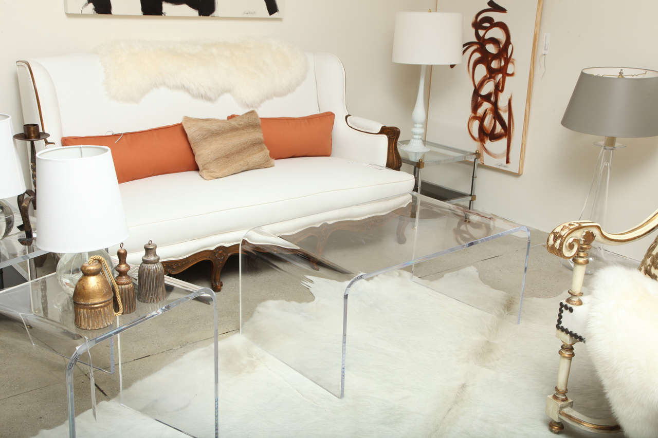 Mid Century Modern Style Waterfall Lucite Coffee Table image 6
