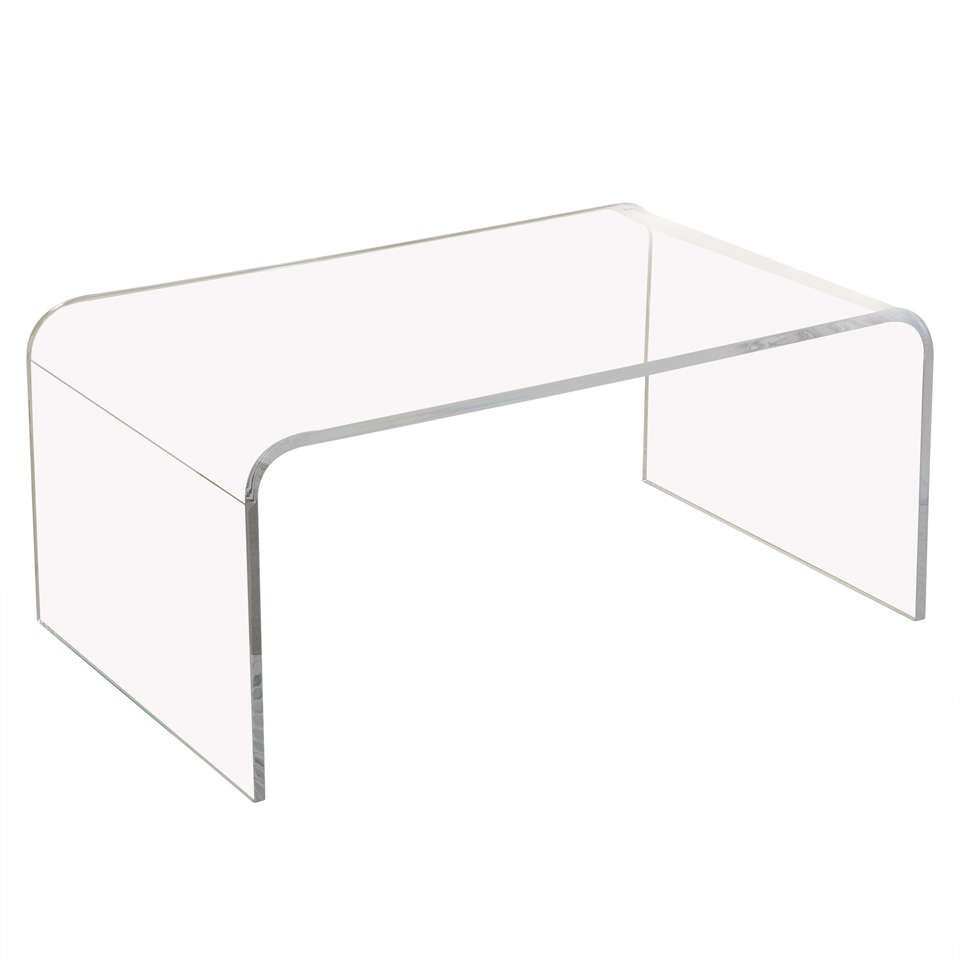 Mid Century Modern Style Waterfall Lucite Coffee Table At