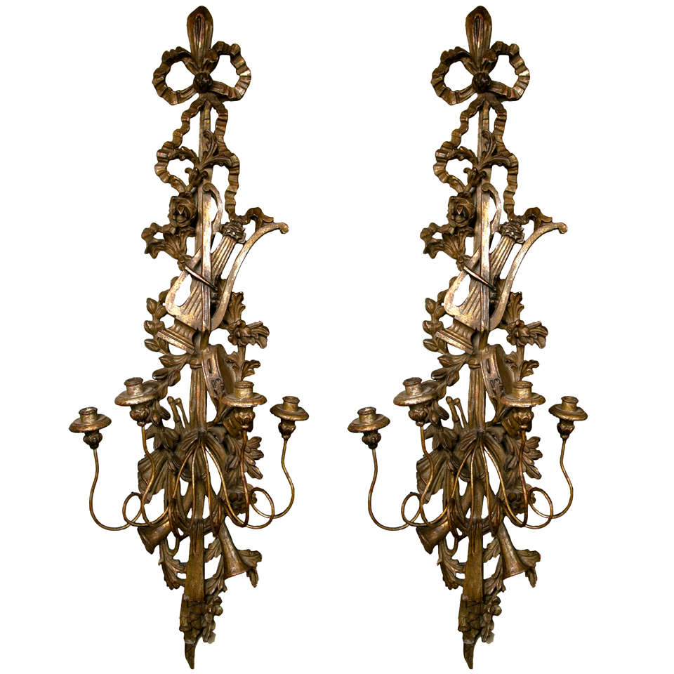 Pair Of Carved And Silvergilt Wood 4 Light Sconces at 1stdibs