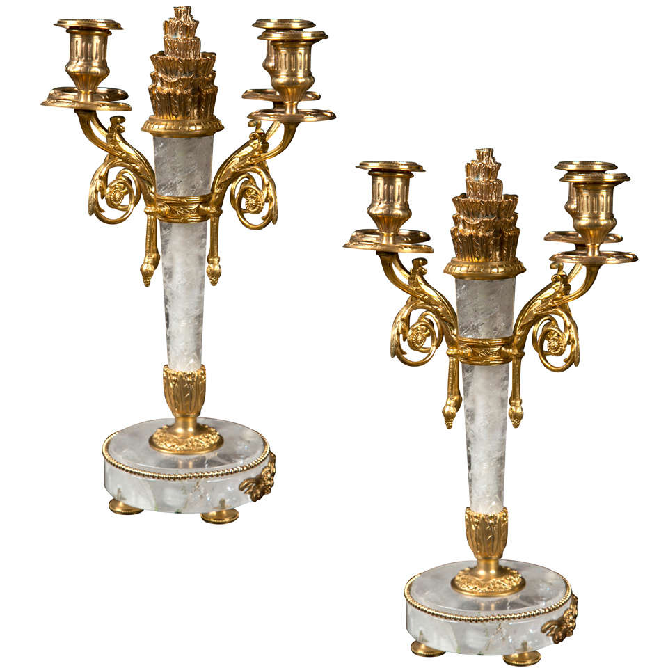 Pair of Rock Crystal and Bronze Candelabra
