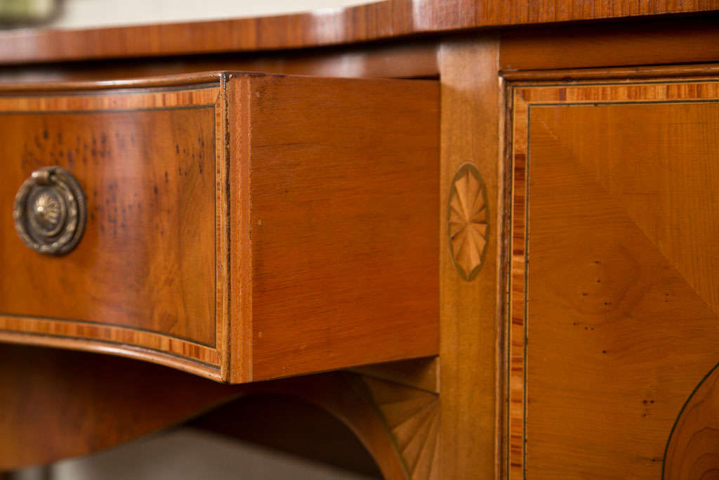 English Yew Wood Serpentine Sideboard For Sale At 1stdibs