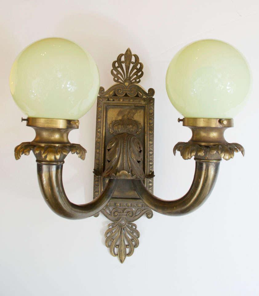 Beaux Arts Pair of Antique Bronze Two-Arm Sconces For Sale
