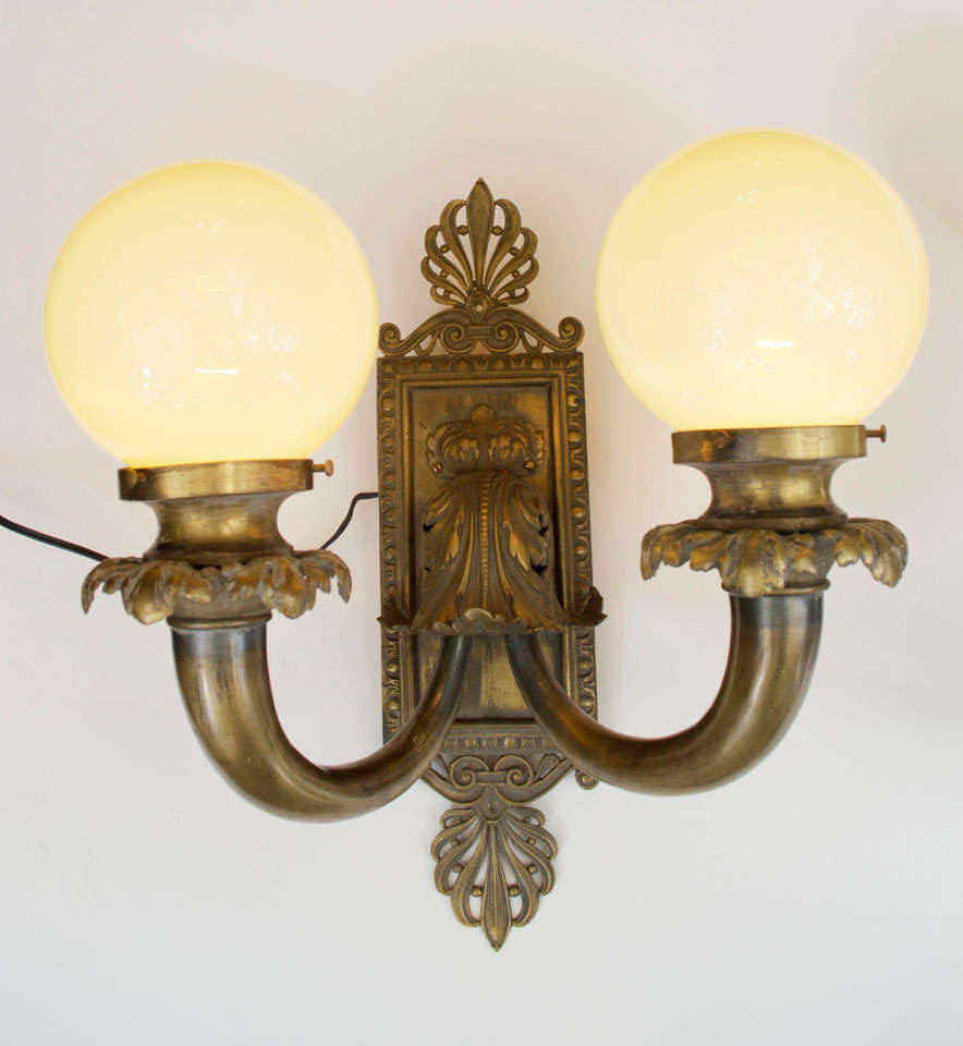 American Pair of Antique Bronze Two-Arm Sconces For Sale