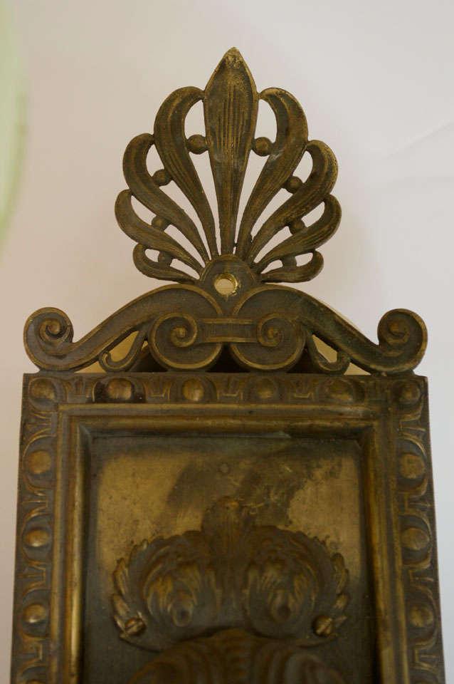 20th Century Pair of Antique Bronze Two-Arm Sconces For Sale
