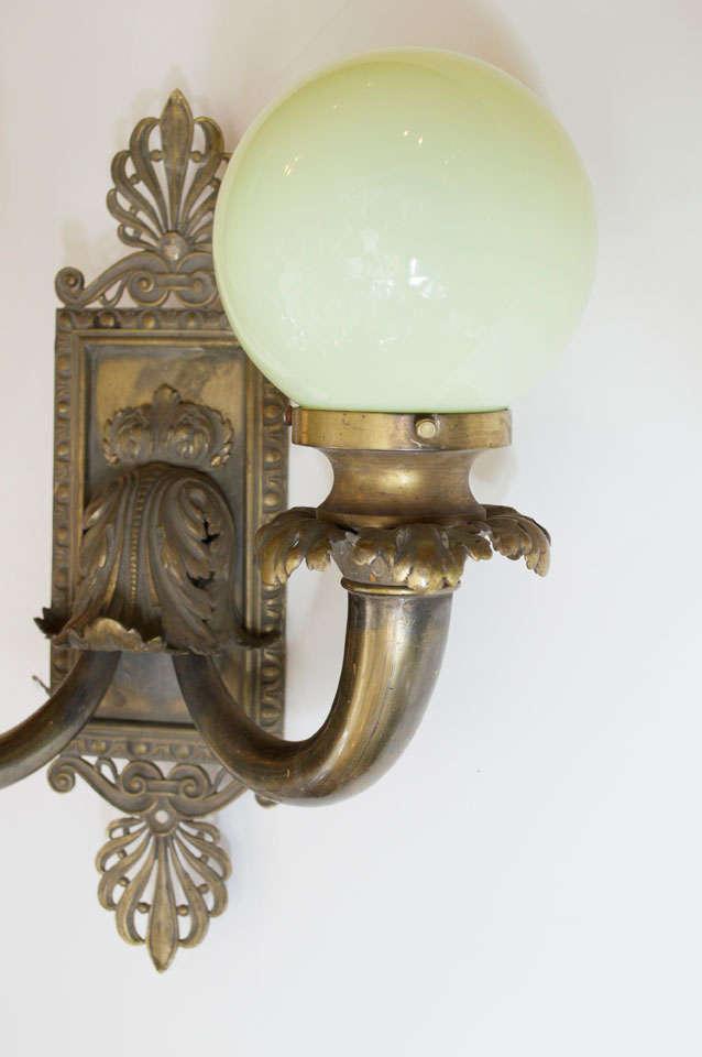 Pair of Antique Bronze Two-Arm Sconces For Sale 3