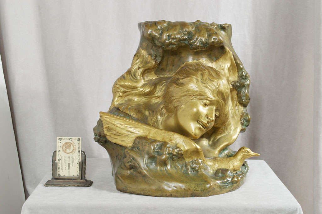 Antique Art Nouveau Bronze Vase 2
