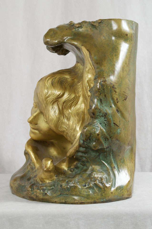 Antique Art Nouveau Bronze Vase 5