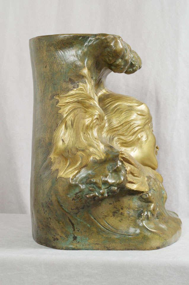 Antique Art Nouveau Bronze Vase 8