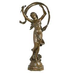 """Signed Art Nouveau Bronze Figure of Young Girl """"LaRosee"""""""