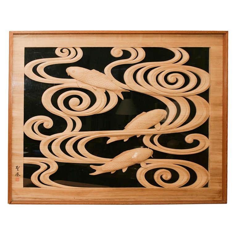 Japanese wood carving panel of swimming carp at stdibs