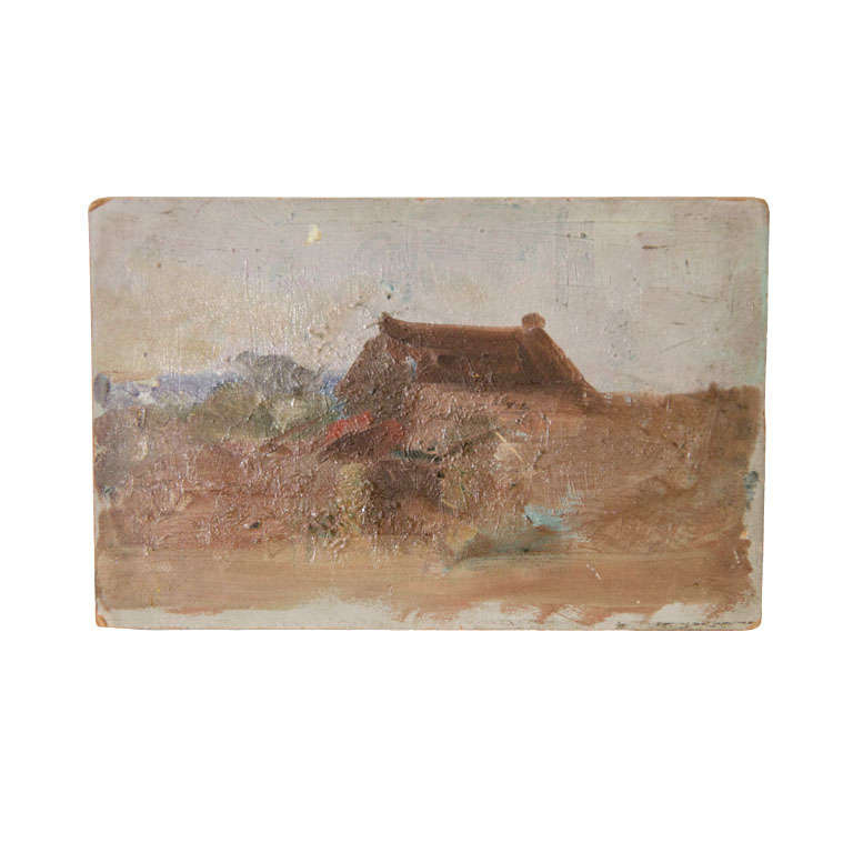 French Farmhouse Painting By Eugene Damblans