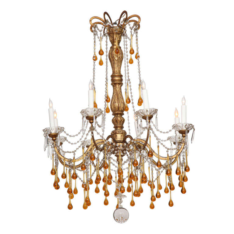 French 19th Century Chandelier with Amber Crystals at 1stdibs