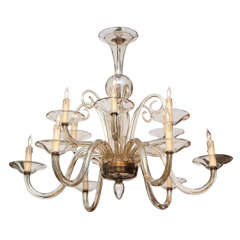12 Armed Murano Champagne Colored Chandelier