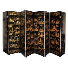 Rare Chinese Export Black & Gilt Lacquer Eight Panel Screen