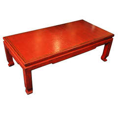 Red Craquelure Lacquered Chinese Modern Style Coffee Table