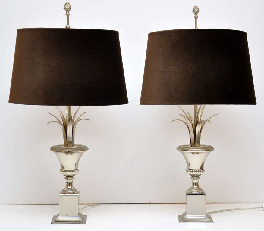 A pair of silvered urn and spray table lamps by Maison Charles, with custom brown velvet shades done by Branca
