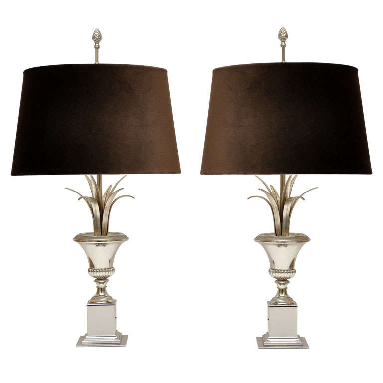 Fabulous Pair of Maison Charles Silvered Metal Urn-Form Table Lamps For Sale